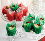 Red & Green Polka Dots Large Tulip Baking Cups Combo