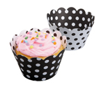 Cupcake Wrappers - Black and White Polka Dots