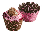 Cupcake Wrappers – Chocolate and Pink, Reversible
