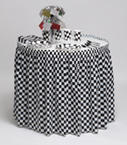 Black and White Check Plastic Table Skirts