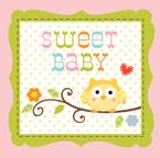 Owl Baby Shower Beverage Napkins - Sweet Baby Girl
