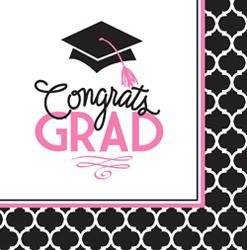 Pink Glam Graduation Luncheon Napkins