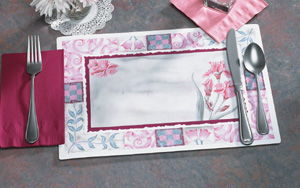 Burgundy Floral Paper Placemats
