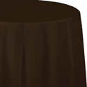 Chocolate Brown Round Plastic Table Covers  - 82 Inch