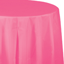 Candy Pink Round Plastic Tablecloths - 82 Inch