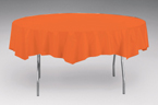 Bittersweet Orange Round Plastic Table Covers - 82 Inch