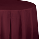 Burgundy Round Plastic Table Covers -  82 Inch