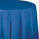 True Blue Round Plastic Table Covers -  82 Inch