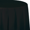 Black Round Plastic Tablecloths  - 82 Inch