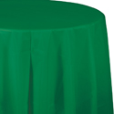 Emerald Green Round Plastic Table Covers - 82 Inch