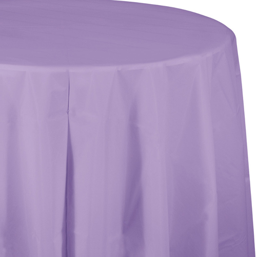 Lavender Round Plastic Tablecloths  -  82 Inch