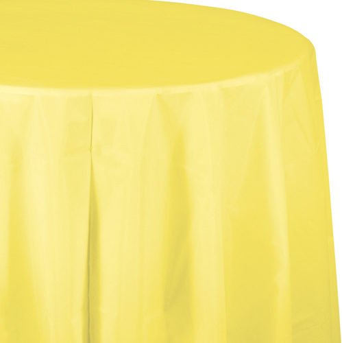 Mimosa Yellow Round Plastic Table Covers  -  82 Inch