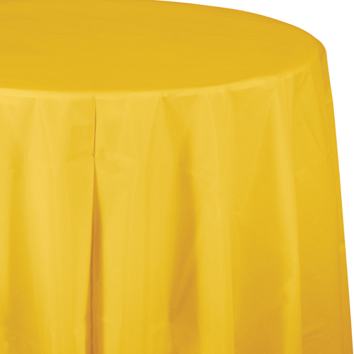 School Bus Yellow Round Plastic Table Covers - 82 Inch