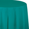 Teal Round Plastic Table Covers - 82 Inch