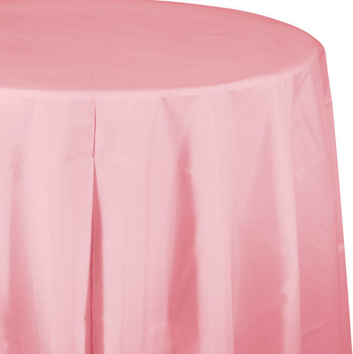 Classic Pink Round Plastic Tablecloths - 82 Inch