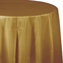 Gold Round Plastic Table Covers -  82 Inch