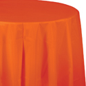 Sunkissed Orange Round Plastic Table Covers - 82 Inch