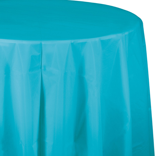 Bermuda Blue Round Plastic Table Covers - 82 Inch