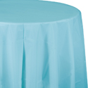 Pastel Blue Round Plastic Table Covers - 82 Inch