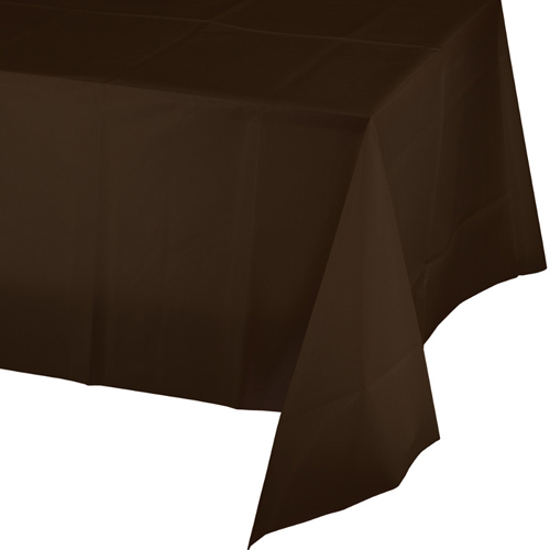 Chocolate Brown Plastic Banquet Table Covers - 12 Count