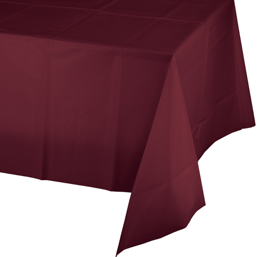 Burgundy Plastic Banquet  Table Covers - 12 Count