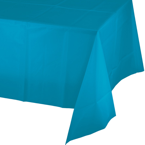 Turquoise Plastic Banquet Table Covers - 12 Count