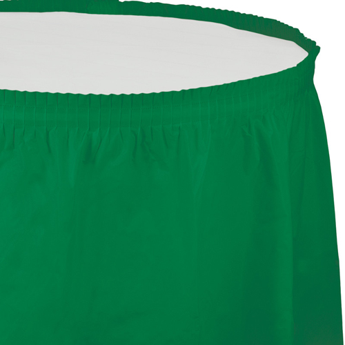Emerald Green Plastic Table Skirts - 21.5 Feet