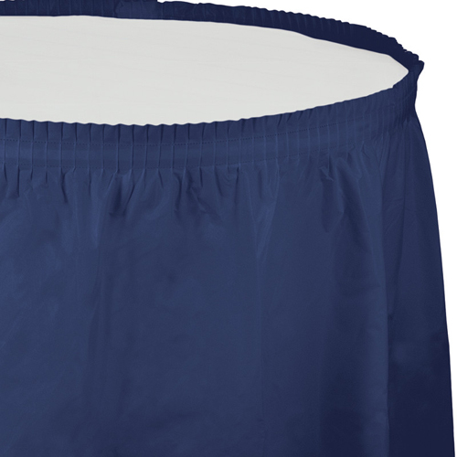 Navy Blue Plastic Table Skirts - 21.5 Feet