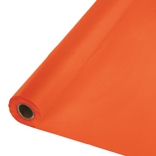 Bittersweet Orange Disposable Plastic Table Cloths - Rolls