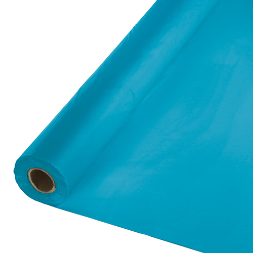 Turquoise Disposable Plastic Tablecloths - Rolls