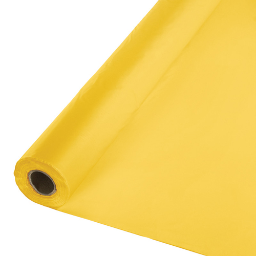 School Bus Yellow Disposable Plastic Table Covers - 6 Rolls