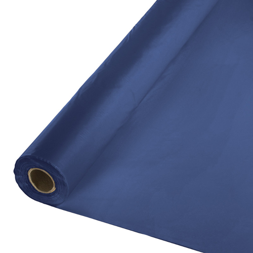 Navy Blue Plastic Table Cover Rolls - 300 Ft Lightweight