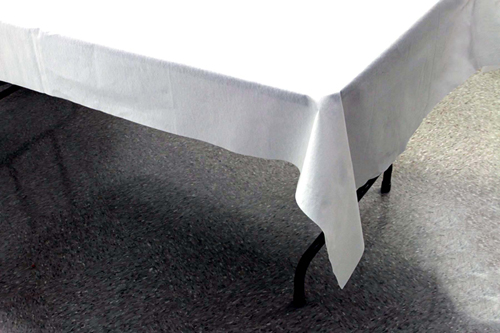 White Better Than Linen Paper Banquet Table Covers - 12 Count