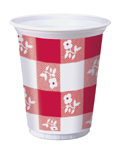 Red Gingham Plastic Beverage Cups