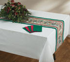 Disposable Christmas Table Runners - Pine and Holly Linen Like