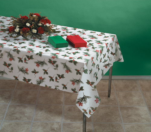 Winter Berries Linen Like Paper Banquet Table Covers - 24 Count