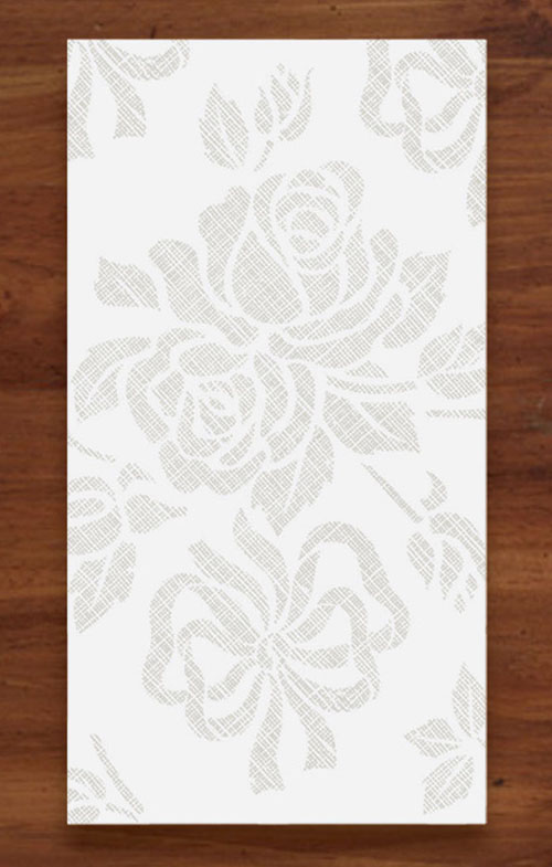 Linen Like Paper Guest Hand Towels -  Silver Floral Prestige