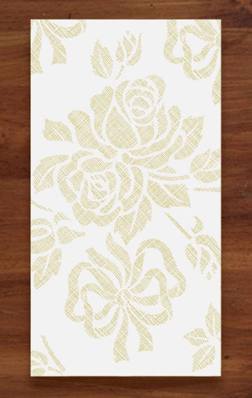 Linen Like Paper Guest Hand Towels -  Gold Floral Prestige