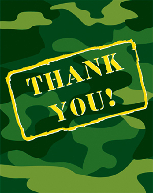 Army Themed Thank You Cards