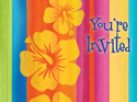 Tropical Stripes Postcard Party Invitations