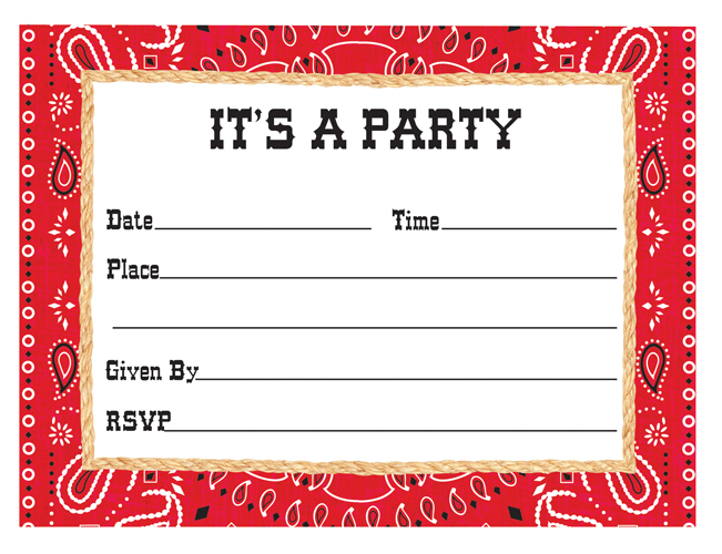 Western Themed Party Invitations