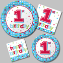 First Birthday Party Supplies - Blue Dots