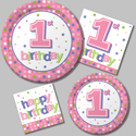 First Birthday Party Supplies - Pink Dots