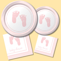 Footprints Baby Shower Party Supplies - Girl