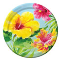Hibiscus Floral Paper Luncheon Plates