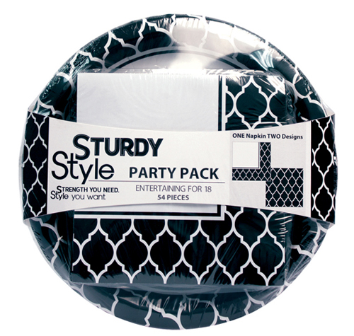 Sturdy Paper Plates and Napkins Party Packs – Black