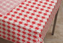 Red & White Check Plastic Table Cover Rolls