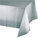 Silver Plastic Tablecloths - 54 x 108 Inch